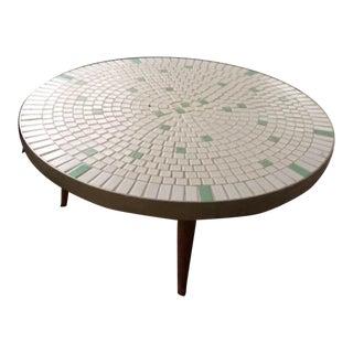 Mosaic Tile Top Circular 1950s Coffee Table