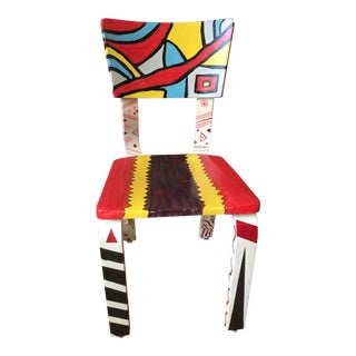 Vintage Pop Art Painted Accent Chair