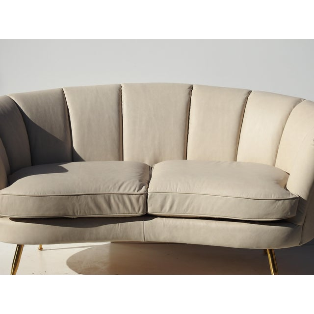 Modern Italian Leather Loveseat - Image 4 of 6