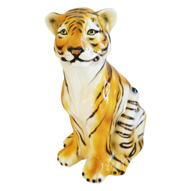 Large Mid-Century Porcelain Italian Tiger - Image 1 of 11