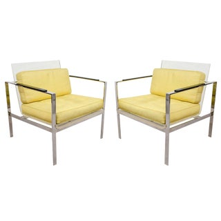 Rare Pair of Modernist Lucite And Nickeled Bronze Chairs by Laverne