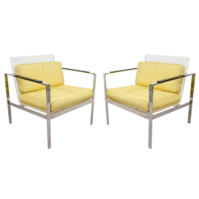 Rare Pair of Modernist Lucite And Nickeled Bronze Chairs by Laverne - Image 1 of 10