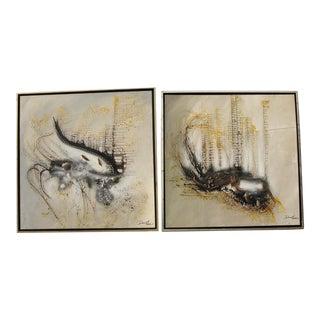 Dan Lo Mixed Media Abstract Paintings - A Pair