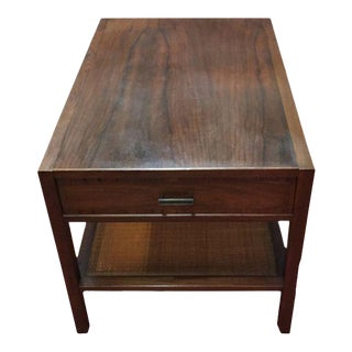 Mid-Century Modern Wood & Cane Side Table