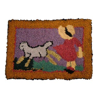 Mary Had a Little Lamb Hooked Rug: Circa 1930; Pa.