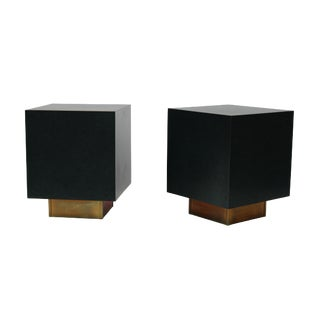 Green & Brass Base End Tables - a Pair