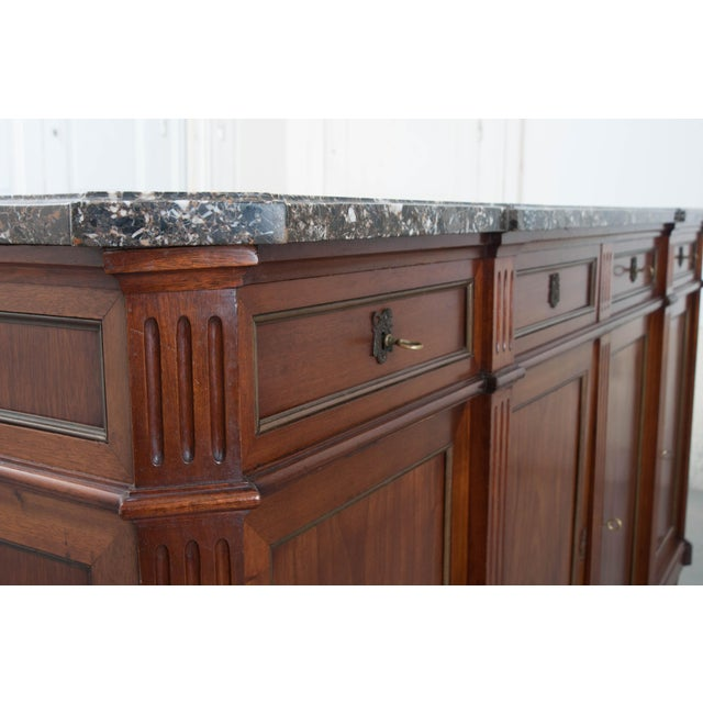 French Late 19th Century Louis XVI Style Mahogany Enfilade with Marble Top - Image 9 of 10