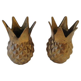 Brass Pineapple Candleholders - Pair