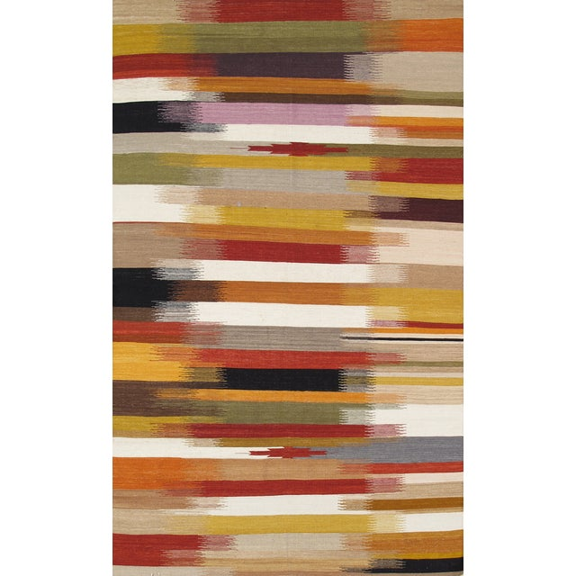 Image of Modern Reversable Red Wool Kilim Rug - 5' x 8'
