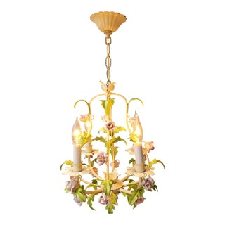 French Tole Chandelier With Porcelain Flowers