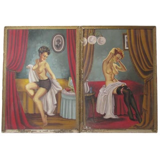 Pair of Saloon Girls, Oil on Canvas