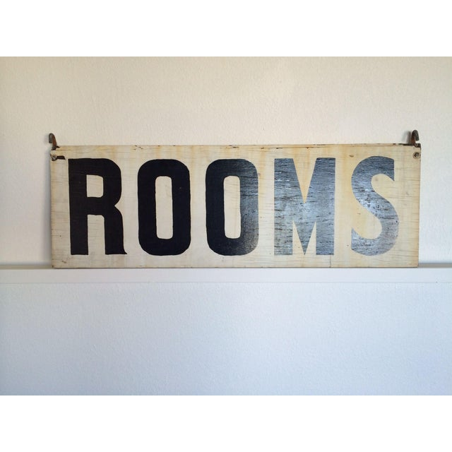 "Vintage Wood ""Rooms"" Sign - Image 2 of 6"