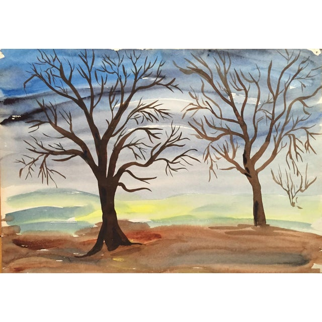 1950's Double Sided Gouache Landscape Painting - Image 5 of 6