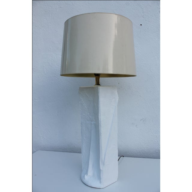 Vintage Sculptural White Plaster Table Lamp | Chairish