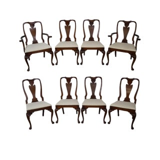 Hickory Chair Queen Anne Style Solid Mahogany Dining Chairs- Set of 8