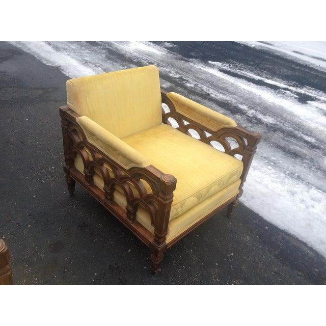 Mid-Century Thomasville Velour Club Chairs - Pair - Image 6 of 8