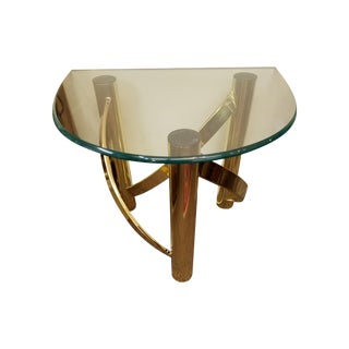 Mid-Century Glass Top & Brass Twisted Base Table