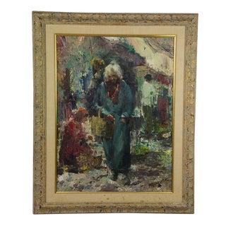 """""""Donna Al Mercato"""" Oil on Canvas by F. Rontini"""