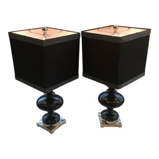 Black Ceramic Table Lamps - A Pair