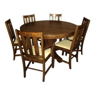 Antique Arts & Crafts Mission Oak Dining Set