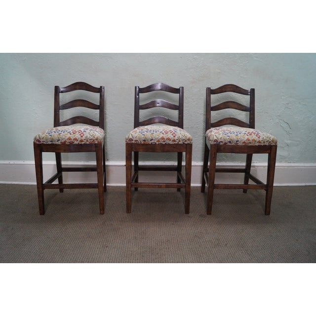 Guy Chaddock Ladder Back Bar Stools - Set of 3 - Image 2 of 10