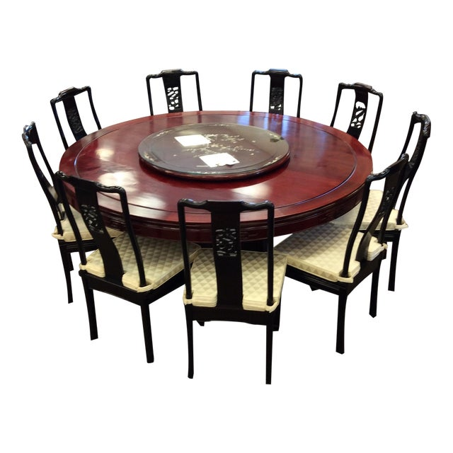 """72"""" Rosewood Table With Lazy Susan Dining Set - Image 1 of 9"""
