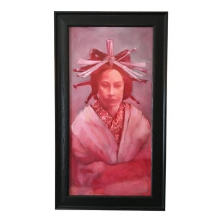 """Framed """"Red Lady"""" Oil Painting"""