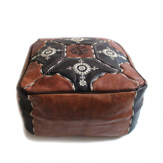 Moroccan Leather Pouf - Image 1 of 2