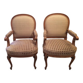 Upholstered Carved Walnut Armchairs - A Pair