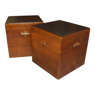 Lane Mid-Century Walnut Cube Side Tables - A Pair