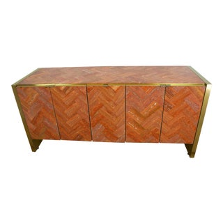 Tessellated Marble & Brass Credenza Cabinet by Ello
