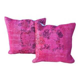 Overdyed Pink Turkish Pillow - A Pair