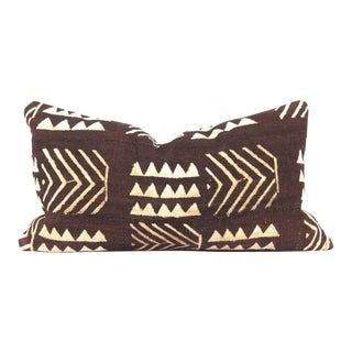 Chocolate Brown African Mudcloth Lumbar Pillow