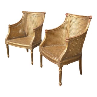 French Rococo Gold Cane Chairs - A Pair