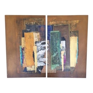 Abstract Collage Panels - A Pair