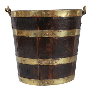 English Brass Banded Wine Cooler Bucket