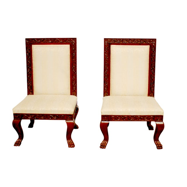 Carved Mahogany Low Wedding Chairs - Pair - Image 1 of 6