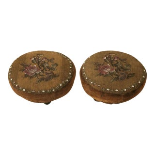 An Honest Pair of Antique English Ladies Beaded Footstools