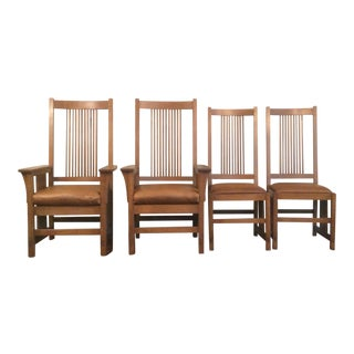 Stickley Leather Spindle Chairs - Set of 4