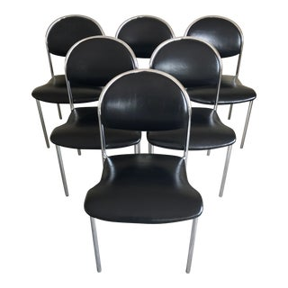 Thonet Italian Modern Style Chrome Dining Chairs- Set of 6