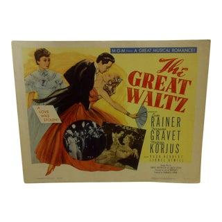 "Vintage Movie Poster ""The Great Waltz"" Luise Rainer & Fernand Gravet - 1962"