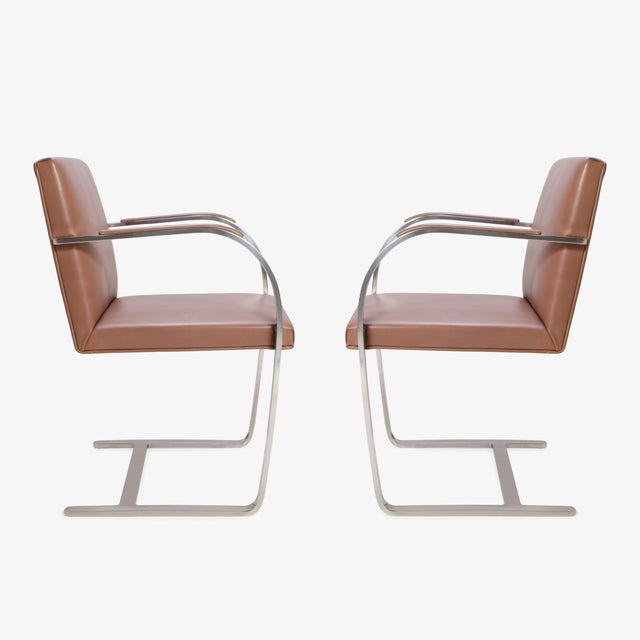 Mies Van Der Rohe for Knoll Cognac Leather Brno Flat-Bar Chairs, Pair - Image 4 of 9