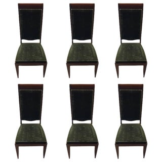 Gaston Poisson Numbered French Art Deco Dining Chairs - Set of 6