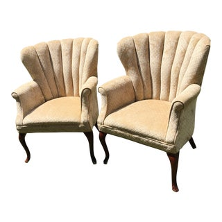 Tan Channel Back Chairs - A Pair