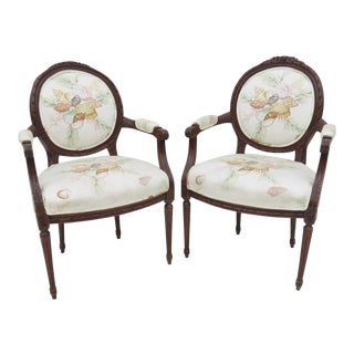 French Louis XVI Walnut Fauteuil Chairs - A Pair