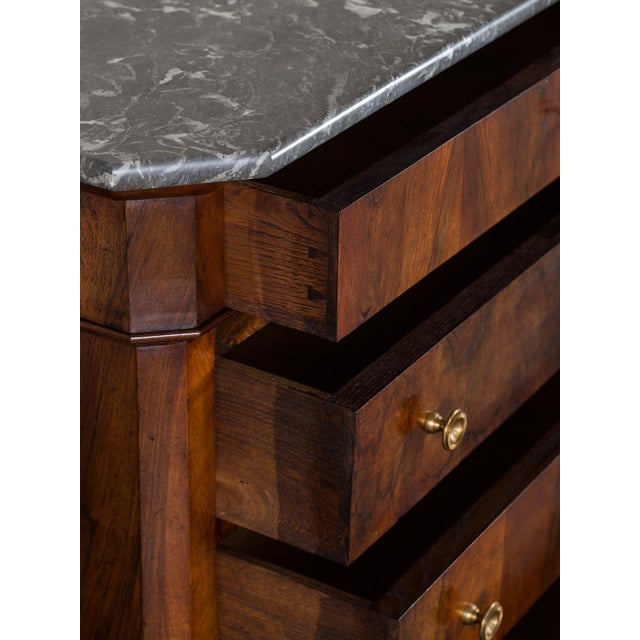 Antique French Louis Philippe Burl Walnut Chest with Marble Top circa 1850 - Image 4 of 11