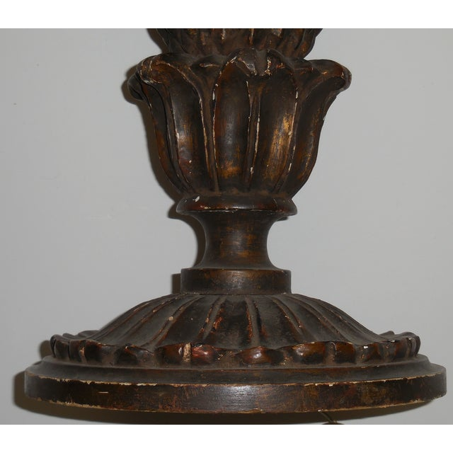 Antique wood carved italian table lamp chairish for Vintage wooden table lamps