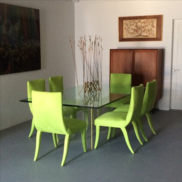 Mid Century Lime Dining Chairs - Set of 6 - Image 9 of 9