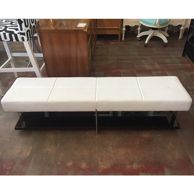 Malerba Modern White Vinyl Bench Chairish