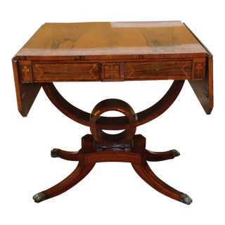 Antique 19th Century Inlaid & Banded Rosewood Drop Side Regency Console Sofa Table c1850